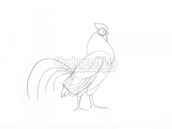 Line Art Rooster : Rooster with a fir tree drawing